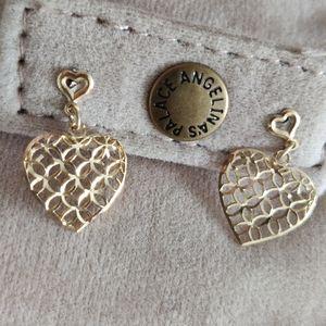 Vintage 14K Yellow Gold Dangle Heart Earrings